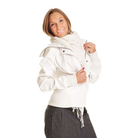 smiley woman in white jacket. isolated on white photo