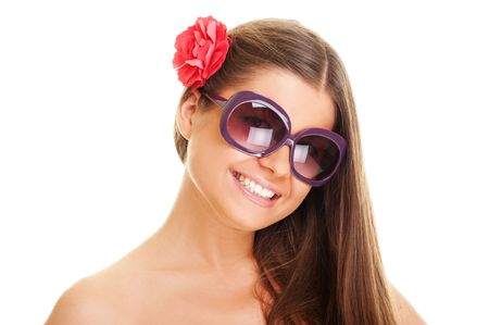 smiley young woman in sunglasses. isolated on white Stock Photo - 5661805