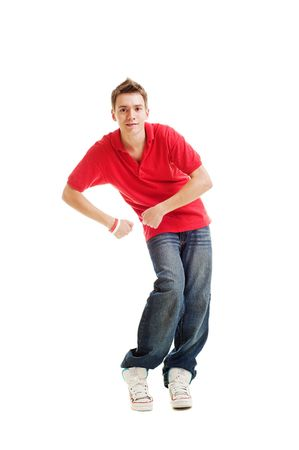 roughneck: dancing hip-hop guy in red t-shirt. isolated on white Stock Photo