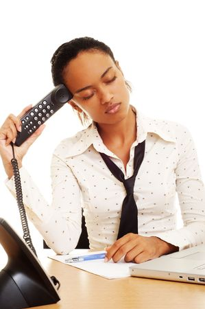fatigued: fatigued woman with telephone dont working