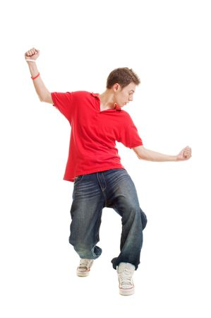 tough man: hip-hop guy dancing. isolated on white Stock Photo