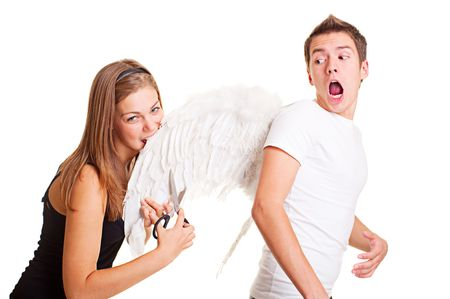 bad girl cuting and biting wings of her boyfriend photo
