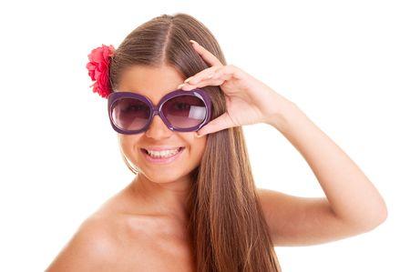 portrait of happy sunburnt girl in sunglasses Stock Photo - 5675280