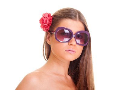 beautiful woman in sunglasses with flower in her hair. isolated on white Stock Photo - 5890788