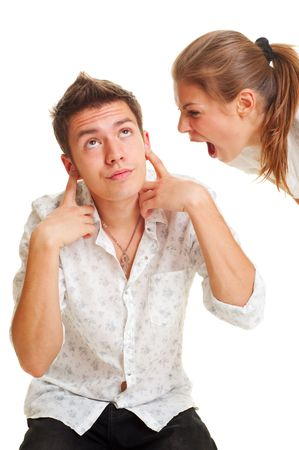 angry teenager: angry woman screaming at the man. isolated on white Stock Photo