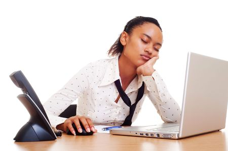 tired businesswoman slipping on her workplace Stock Photo - 6067713