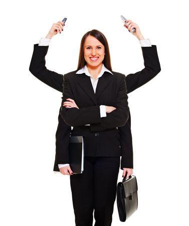 mucha gente: Empresaria moderna lista para el trabajo. aislados en blanco