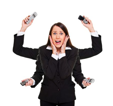 panic: stressed woman with telephones in her hands. isolated on white