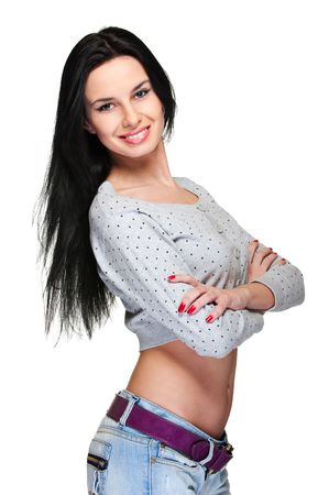 cheerful pretty woman with long hair. isolated on white Stock Photo - 6535563