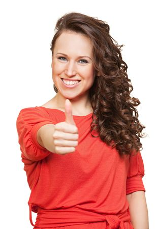 bright portrait of happy woman with thumbs up. isolated on white photo
