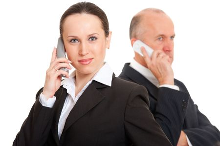 business people talking on the phone. isolated on white background photo