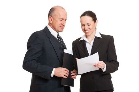 documentation: director and secretary looking at documentation. isolated on white background Stock Photo