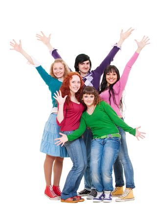 merry and bright group of teenagers. isolated on white Stock Photo - 6735031
