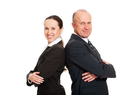 assured: portrait of smiley assured business people. isolated on white background