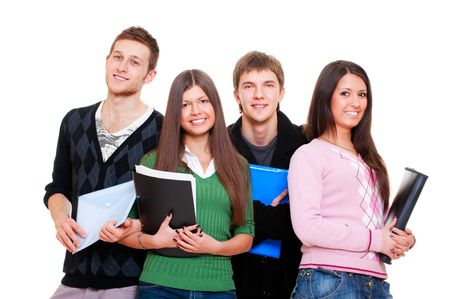 studygroup: company of cheerful students. isolated on white background
