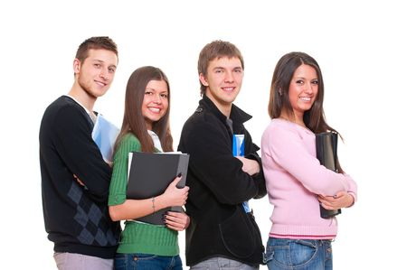 portrait of four smiley students. isolated on white background photo