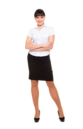 full-length portrait of pretty businesswoman. isolated on white background photo
