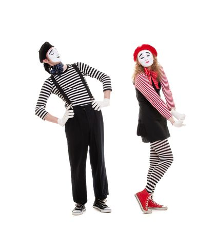 mimes in love posing against white background