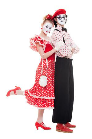 portrait of mimes. beautiful couple in love. isolated on white