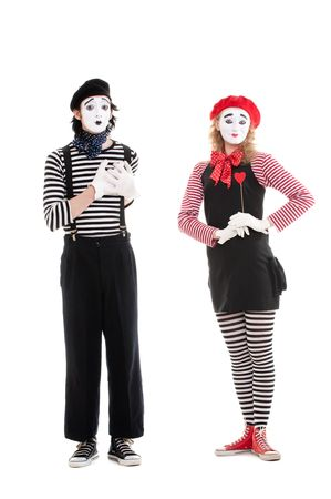 portrait of mimes. loving couple. isolated on white background photo