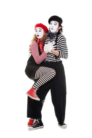 portrait of scared couple of mimes. isolated on white Stock Photo - 6876808