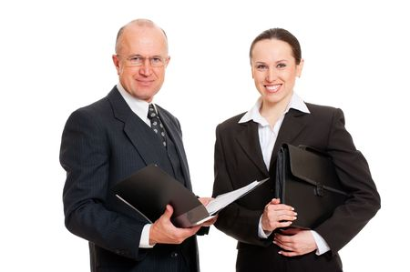 portrait of smiley business people with documentations. isolated on white background photo