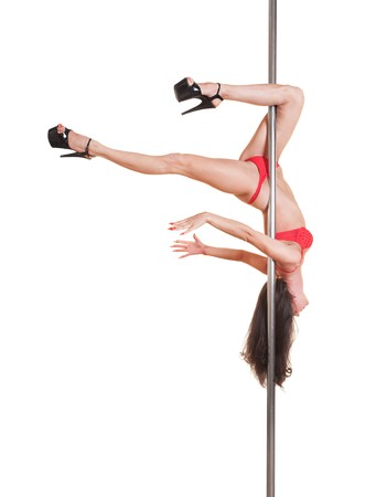 alluring dancer on the pole. isolated on white background Stock Photo - 7082771