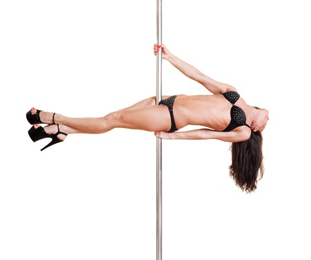 beautiful dancer on the pole. isolated on white background Stock Photo - 7082762
