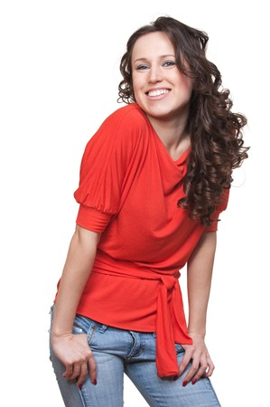 portrait of cheerful young woman in orange t-shirt. isolated on white background photo
