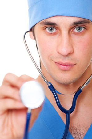 close-up portrait of doctor with stethoscope over white background photo