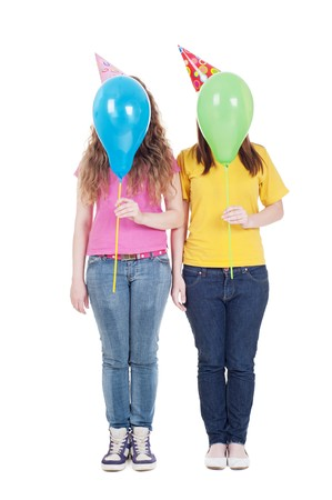funny portrait of girls with balloons. isolated on white background Stock Photo - 7082878