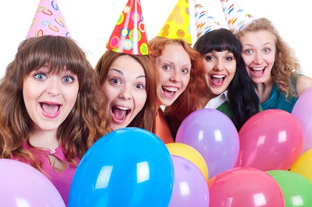 portrait of happy girls with variegated balloons over white background  Stock Photo - 7083142