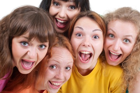 portrait of happy screaming girls over white background Stock Photo - 7083190