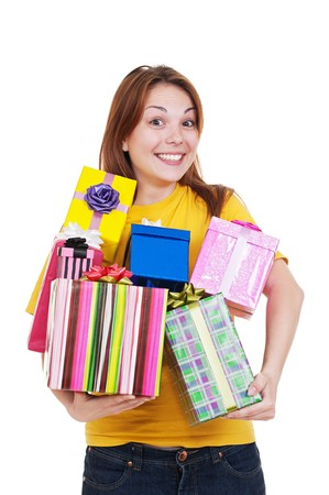 portrait of joyful woman with gift boxes. isolated on white background  Stock Photo - 7083020