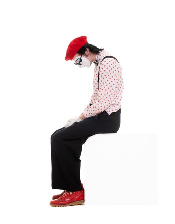 portrait of sad mime. isolated on white background photo