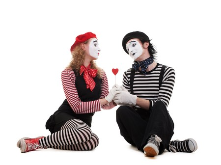 smiley mimes in love. isolated on white background photo
