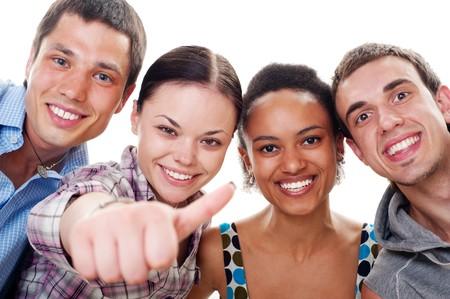 smiley pouce: Portrait de belles amis heureux. isol� sur fond blanc  Banque d'images
