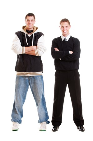 full-length portrait of two men. isolated on white background Stock Photo - 7291603