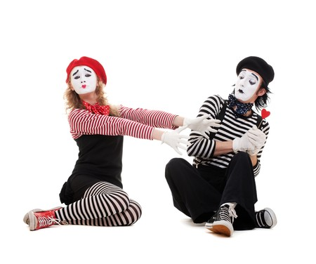pantomime: funny portrait of mimes. isolated on white background
