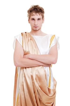 theatre costumes: portrait of handsome man greek styled. isolated on white background Stock Photo