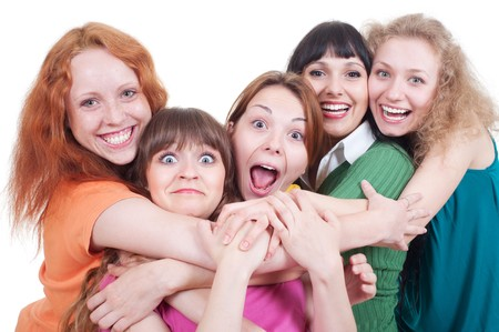 several: portrait of happy girls over white background