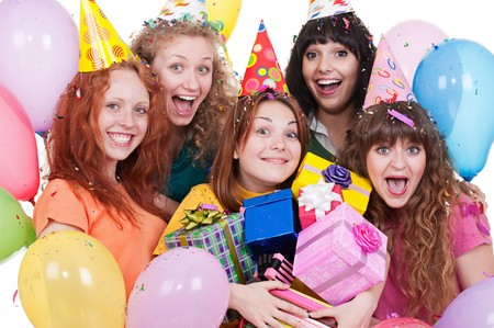portrait of joyful women with gifts and balloons. isolated on white background Stock Photo - 7291857