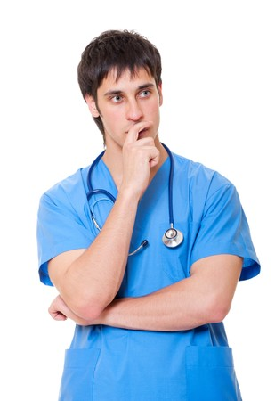 nursing staff: portrait of pensive doctor in blue uniform. isolated on white background