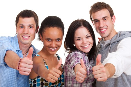 thumbs up group: Smiley giovani comparire0 pollici. isolated on white  Archivio Fotografico