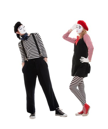 playful couple of mimes. isolated on white background photo
