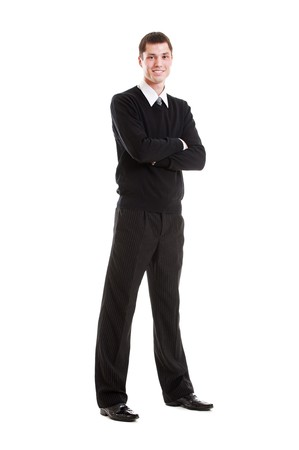 full-length portrait of stylish businessman. isolated on white background photo