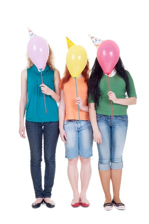 funny portrait of three girls with balloons. isolated on white background Stock Photo - 7291674