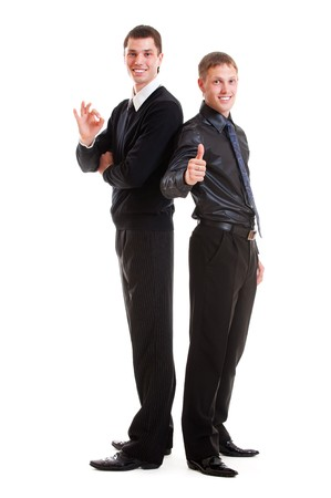 full-length portrait of two prosperous young businessmen. isolated on white background Stock Photo - 7291462