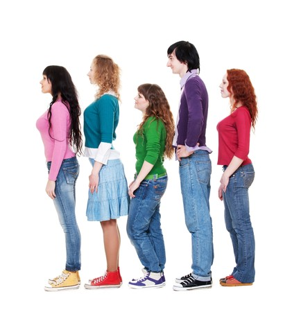 full length portrait of young man and women in queue against white background  photo