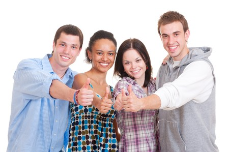 portrait of beautiful successful students. isolated on white background Stock Photo - 7348644